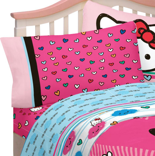 Merveilleux Hello Kitty Full Bed Sheets Colorful Hearts Bedding