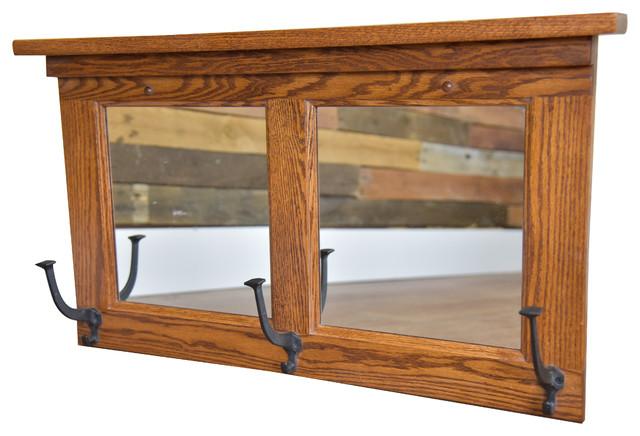 Mission Mirror Coat Hanger 3 Hooks, Wall Mounted, Oak Wood, Wrought Iron Hooks