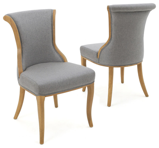Luther French-Style Dining Chairs, Gray, Set Of 2.