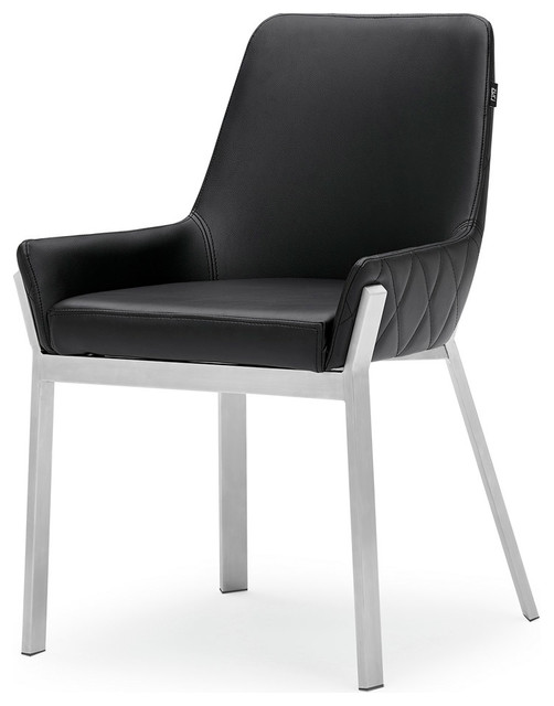 Sydney Leatherette Dining Chair With Polished Stainless Steel Legs Contemporary Dining Chairs By Zuri Furniture