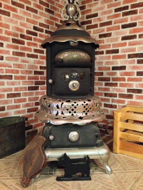 Restored Antique Wood Stove - Stanley Iron Works, Nashua, NH. farmhouse - Restored Antique Wood Stove - Stanley Iron Works, Nashua, NH.