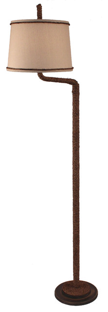 Manila Rope Swing Arm Floor Lamp With Painted Base.