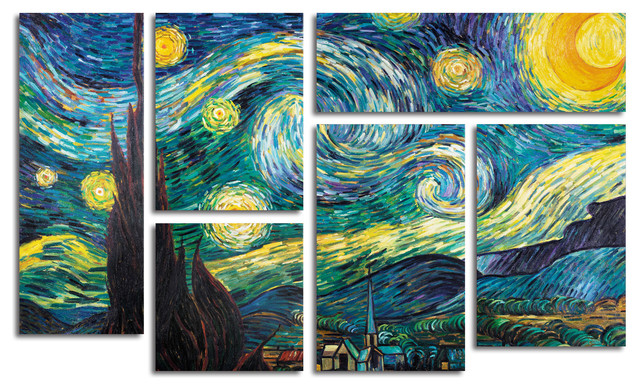 &x27;starry Night&x27; Multi-Panel Canvas Art Set By Vincent Van Gogh.