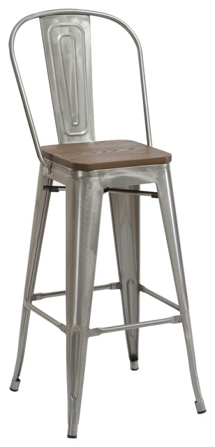 "30"" Metal Antique Bar Stool Chair High Back Wood Seat, Set of 4"