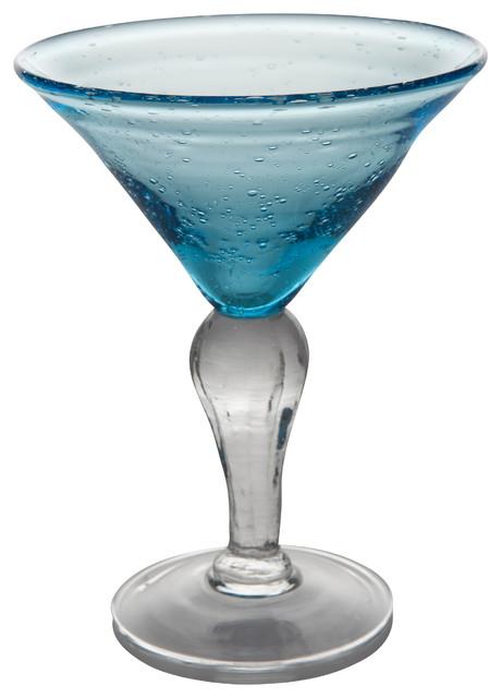 st remy bubble martini glasses set of 4 sea blue