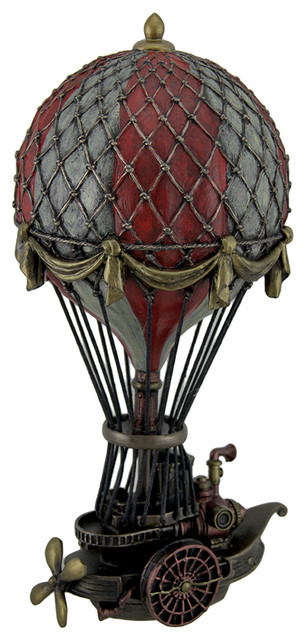 Hand Painted Steampunk Hot Air Balloon Fantasy Statue