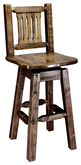 Prime Bar Stool With Back And Swivel Stain And Clear Lacquer Finish Theyellowbook Wood Chair Design Ideas Theyellowbookinfo