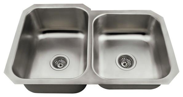 Polaris Pl3501us Offset Stainless Steel Kitchen Sink, Brushed Satin.