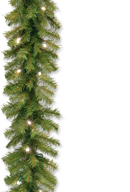 9&x27; Norwood Fir Garland With Battery Operated Dual Color(r) Led Lights.