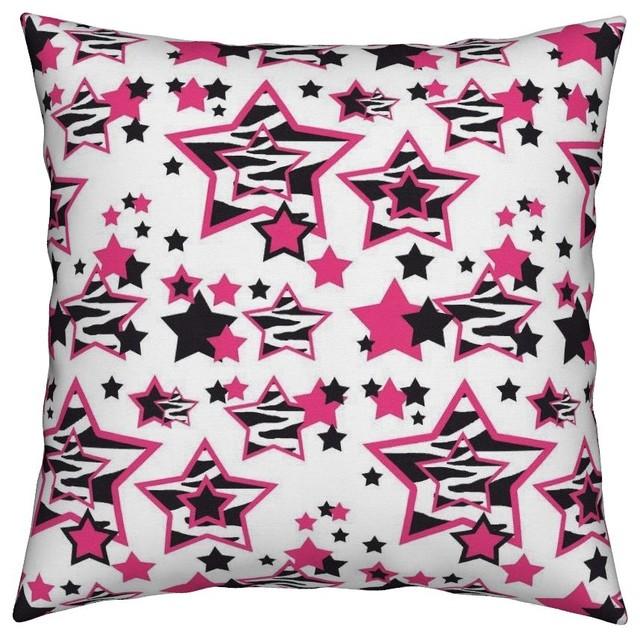 Hot Pink Zebra Stripes Animal Print Geometric Throw Pillow Awesome Pink Zebra Print Decorative Pillows