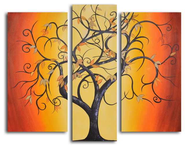 """Hand Painted """"Thai tree dance"""" 3-Piece Set Oil Painting"""
