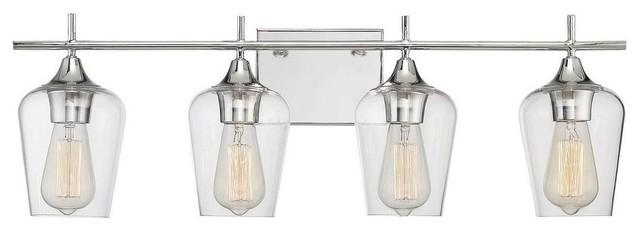 Octave 4-Light Bath Bar, Polished Chrome, Clear Glass