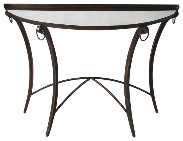 Butler Marilyn Metal Mirrored Demilune Console Table