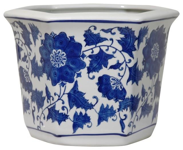 10 Quot Wide Blue And White Floral Porcelain Flower Pot