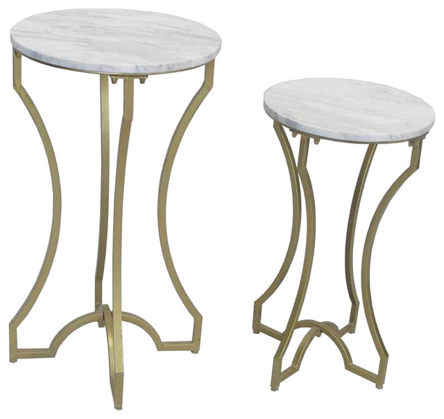 Faux White Marble Coffee Table Set: Set Of 2 Side Tables, Metal And Faux Marble, White