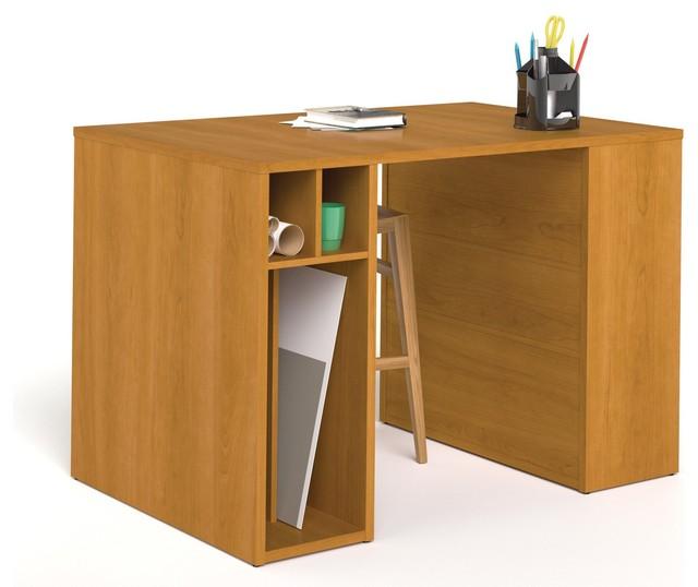 54 Cappuccino Cherry Counter Height Desk Storage Contemporary