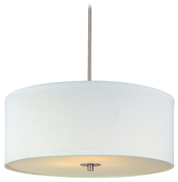 Modern Drum Pendant Light With White Shade, Satin Nickel Finish.