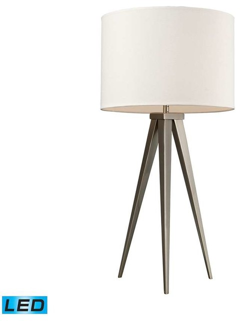 Salford Led Table Lamp, Satin Nickel With Off White Linen Shade.