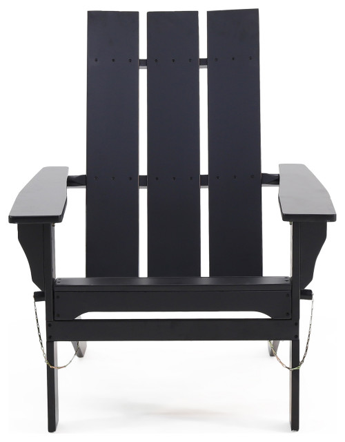 Arian Outdoor Acacia Wood Foldable Adirondack Chair, Black