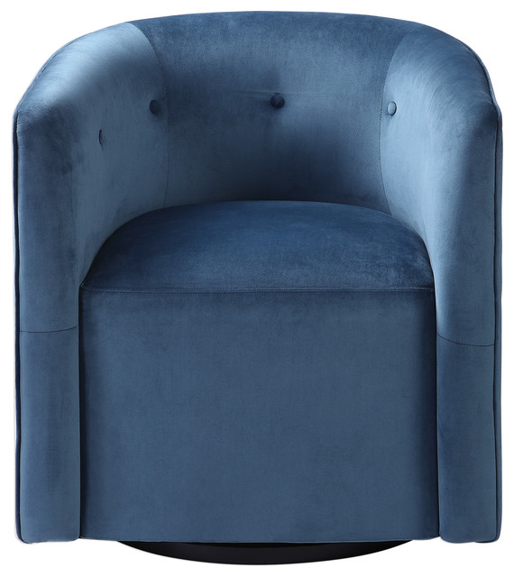 Chic Retro Ink Blue Velvet Barrel Chair