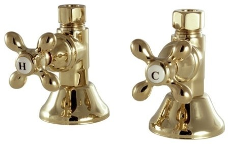 Kingston Brass Straight Stop Shut Off Valve Polished Chrome Traditional Bathroom Sink And