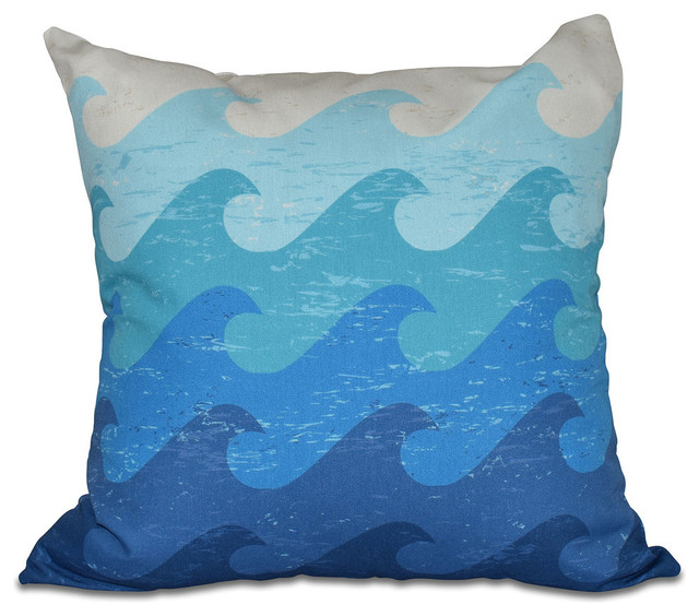 Beach Style Outdoor Cushions : Deep Sea, Geometric Print Outdoor Pillow - Beach Style - Outdoor Cushions And Pillows - by E by ...