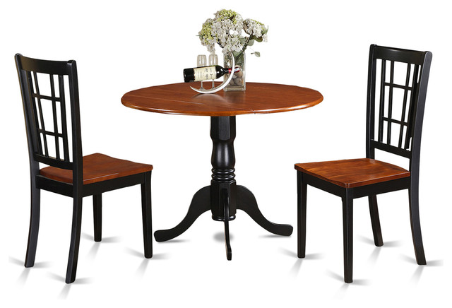 42 Quot Round Small Dining Table Set With 9 Quot Drop Leaf Black