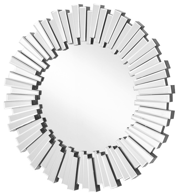 "Sparkle Contemporary Round Clear Mirror, 31.5"". -1"