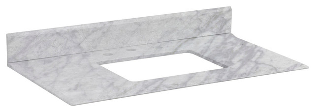 """36""""x19.5"""" Marble Top, Bianca Carara Color For 3-Hole 8"""" Faucet."""