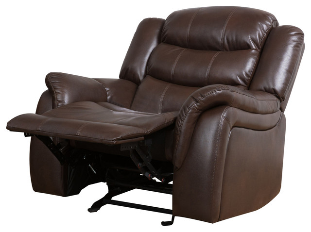 Merit Brown Pu Leather Glider Recliner Club Chair  sc 1 st  Houzz & Reclining And Rocking Plush Over Stuffed Bonded Leather Chair ...