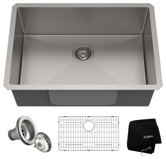 """28"""" Undermount Stainless Steel Kitchen Sink, Single Bowl 16 Gauge"""