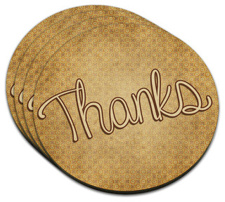 Thanks Handwritten MDF Wood Coaster, Set of 4 - Contemporary - Coasters - by Made on Terra