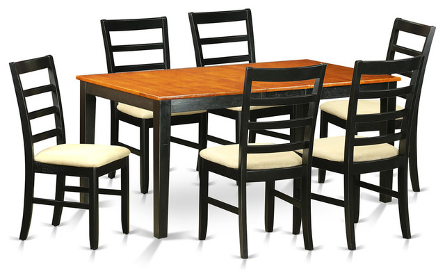 Bradley Dining Table Set Black And Cherry 7 Pieces Microfiber