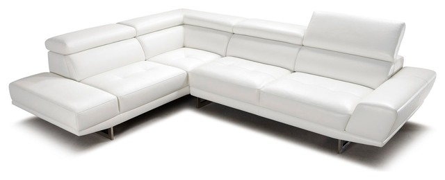 Posh White Top Grain Leather Modern Corner Sectional Sofa Left Chaise