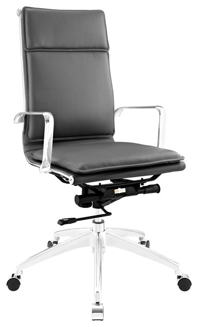Modern Urban Contemporary Highback Office Chair Gray Faux Leather Modern