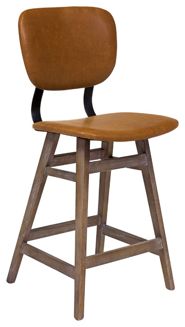 Sloan Counter Stool Brown Leather Midcentury Bar