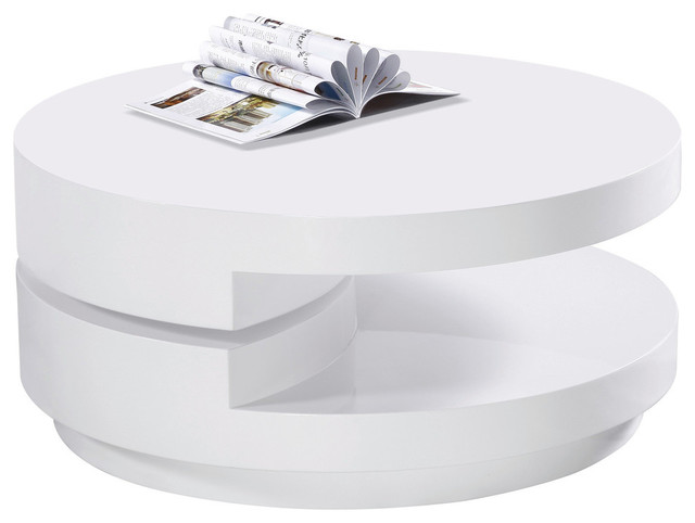 High Gloss White Modern Swivel Coffee Table Tables