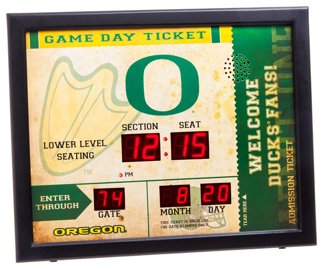 America Oregon Ducks Bluetooth Scoreboard Wall Clock  : contemporary wall clocks from www.houzz.com size 640 x 534 jpeg 135kB