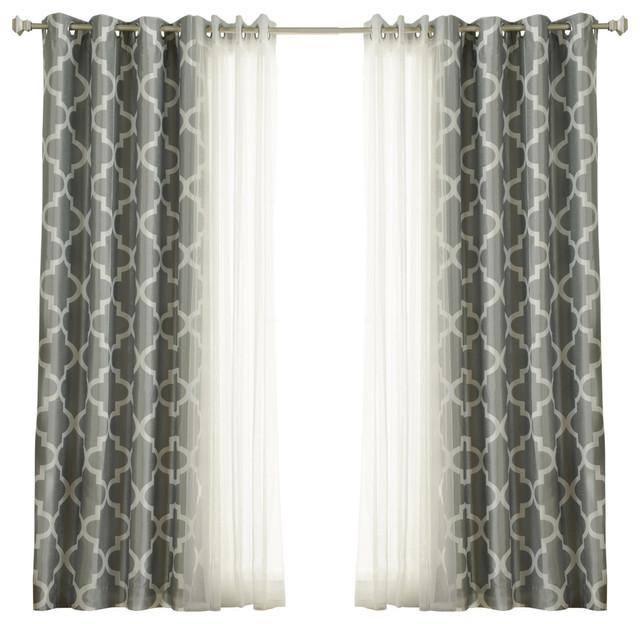 Reverse Quatrefoil Print Faux Silk Blackout Single Curtain Panel, Champagne