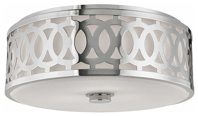 Hudson Valley Lighting Genesee Polished Nickel Flush Mount Ceiling Light.