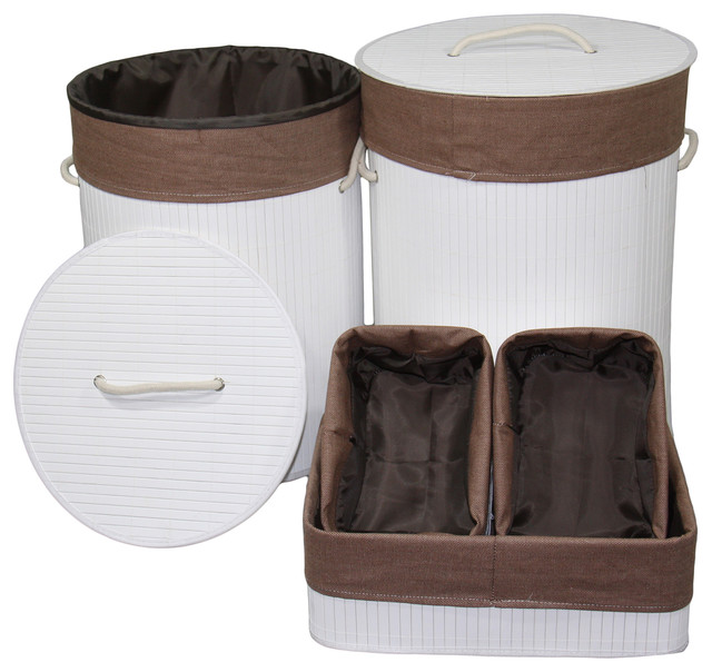 6-Piece Bamboo Round Laundry Folding Basket And Hampers, Espresso Finish.