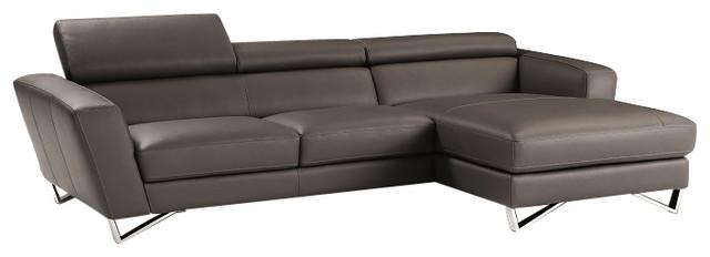 Ju0026M Sparta Mini Italian Leather Sectional Sofa Gray