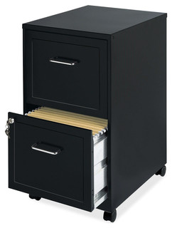 FastFurnishings - Black Metal 2-Drawer Filing Cabinet With Rolling Casters/Wheels & Reviews | Houzz