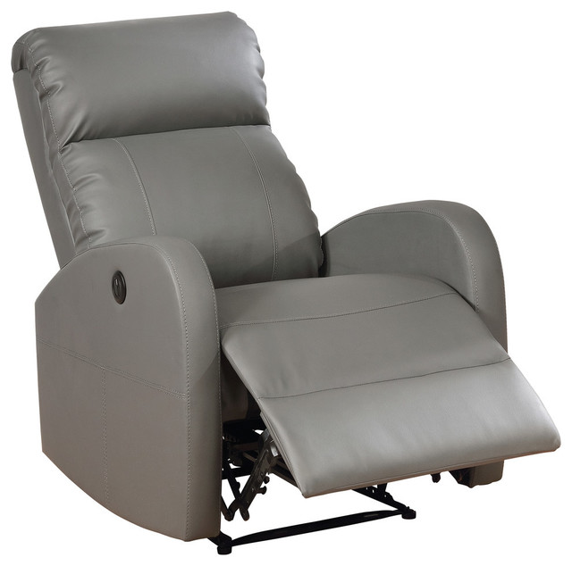 Peachy Sean Modern Leather Infused Small Power Reading Recliner Gray Dailytribune Chair Design For Home Dailytribuneorg