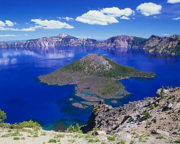 Wizard Island In Crater Lake Wall Mural - 60 Inches W X 48 Inches H.