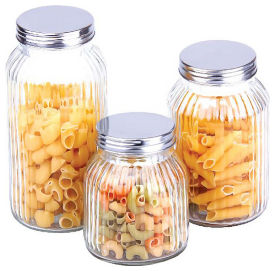 buydealsnow glass canister set 3 piece set kitchen