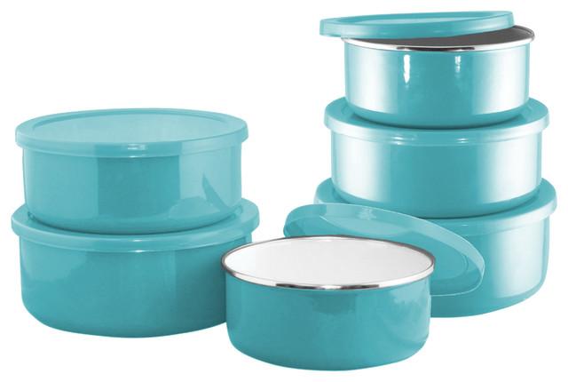 Calypso Basics, 6-Piece Enamel On Steel Bowl Set, Turquoise.