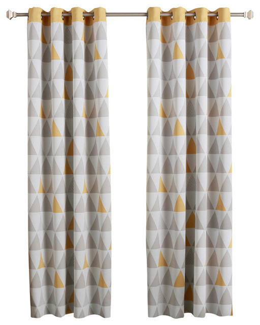 "Mix Triangle Curtains With Stainless Steel Nickel Grom, Sunshine, 84""."