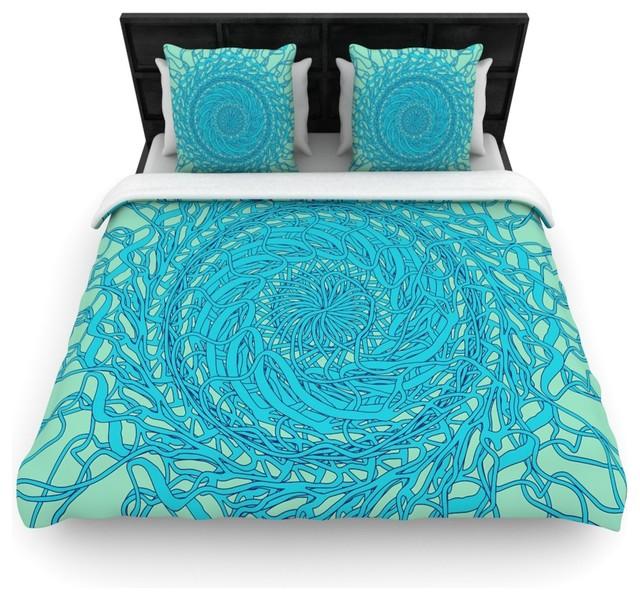 Patternmuse Mandala Spin Mint Green Blue Cotton Duvet Cover Queen 88