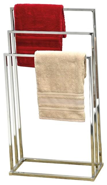 free standing square tube metal bathroom towel rack 3 bars holder chrome